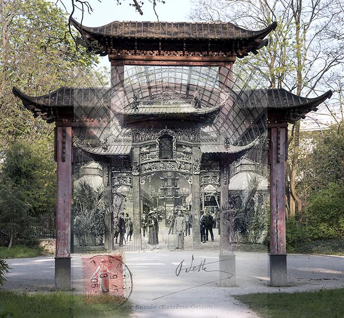 Porte sacrée chinoise du Jardin Tropical - exposition coloniale au Grand-Palais à Paris en 1906
