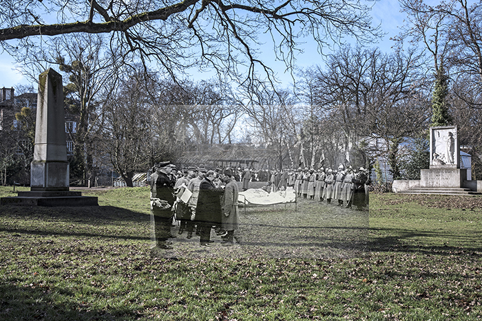 Remise de décorations aux blessés des troupes coloniales durant la première guerre mondiale 1916 dans le Jardin d Agronomie Tropicale de Paris